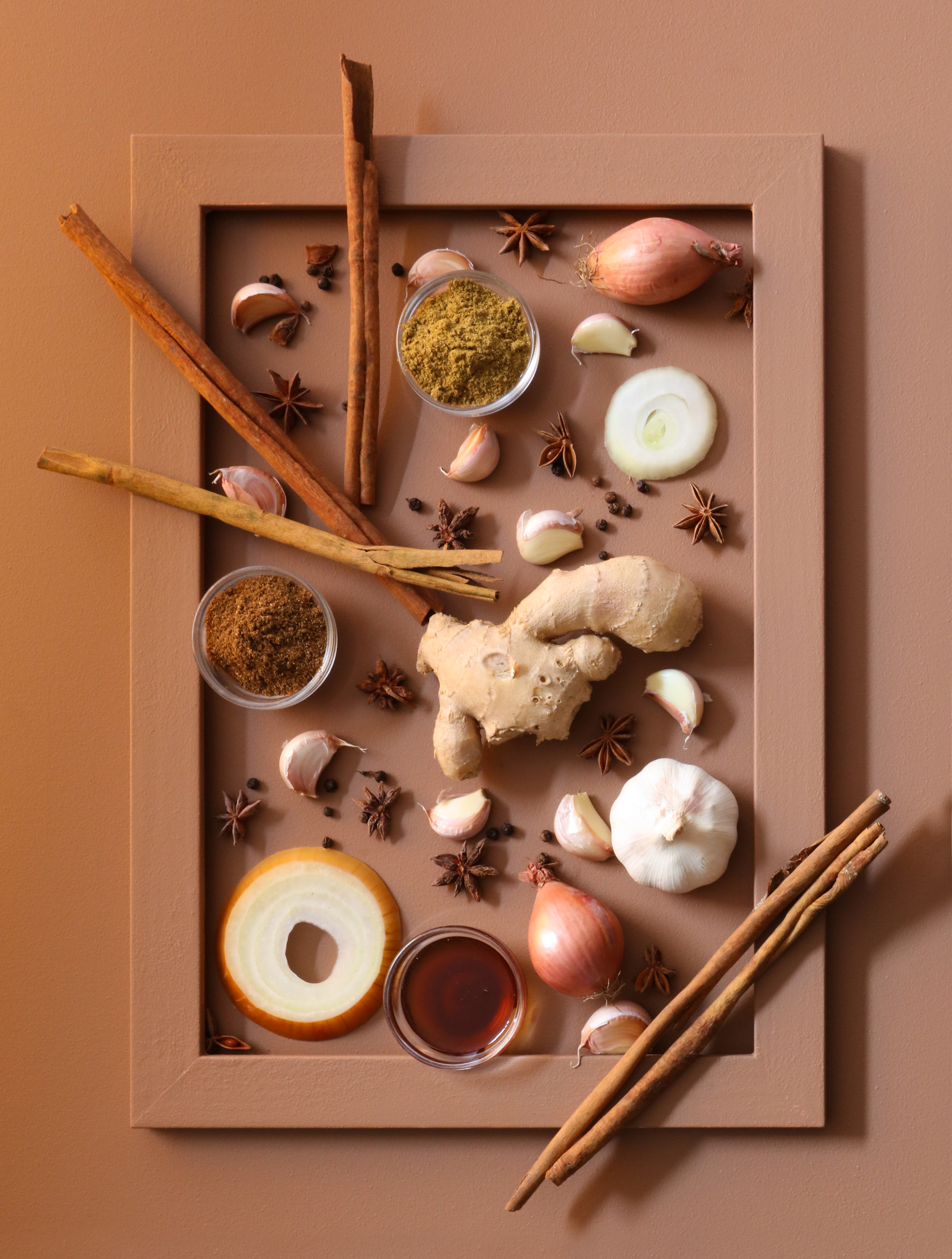 A brown frame filled with brown tonal ingredients